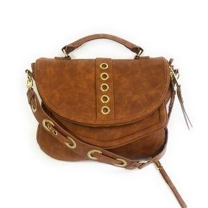 STEVE MADDEN Cognac Boho Messenger Crossbody Bag